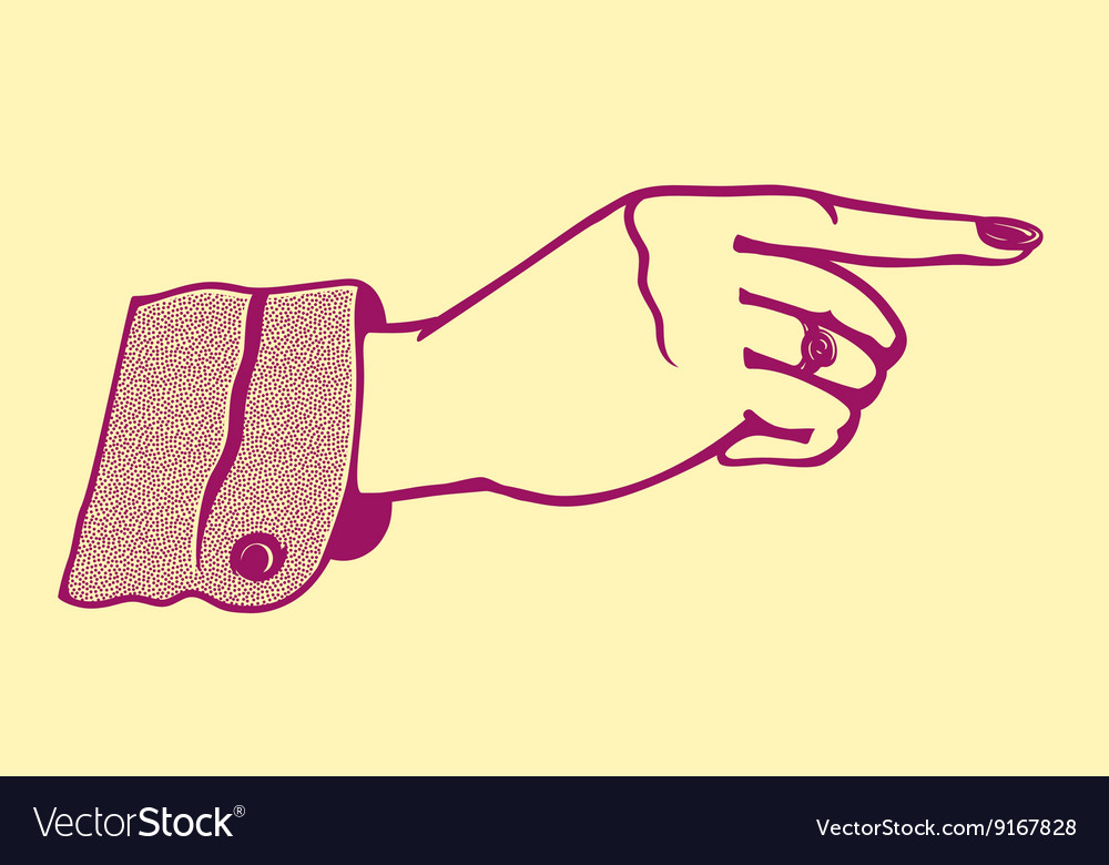 Vintage retro female hand pointing finger vector image