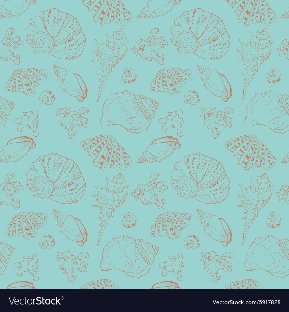 Vintage seamless pattern of seashells
