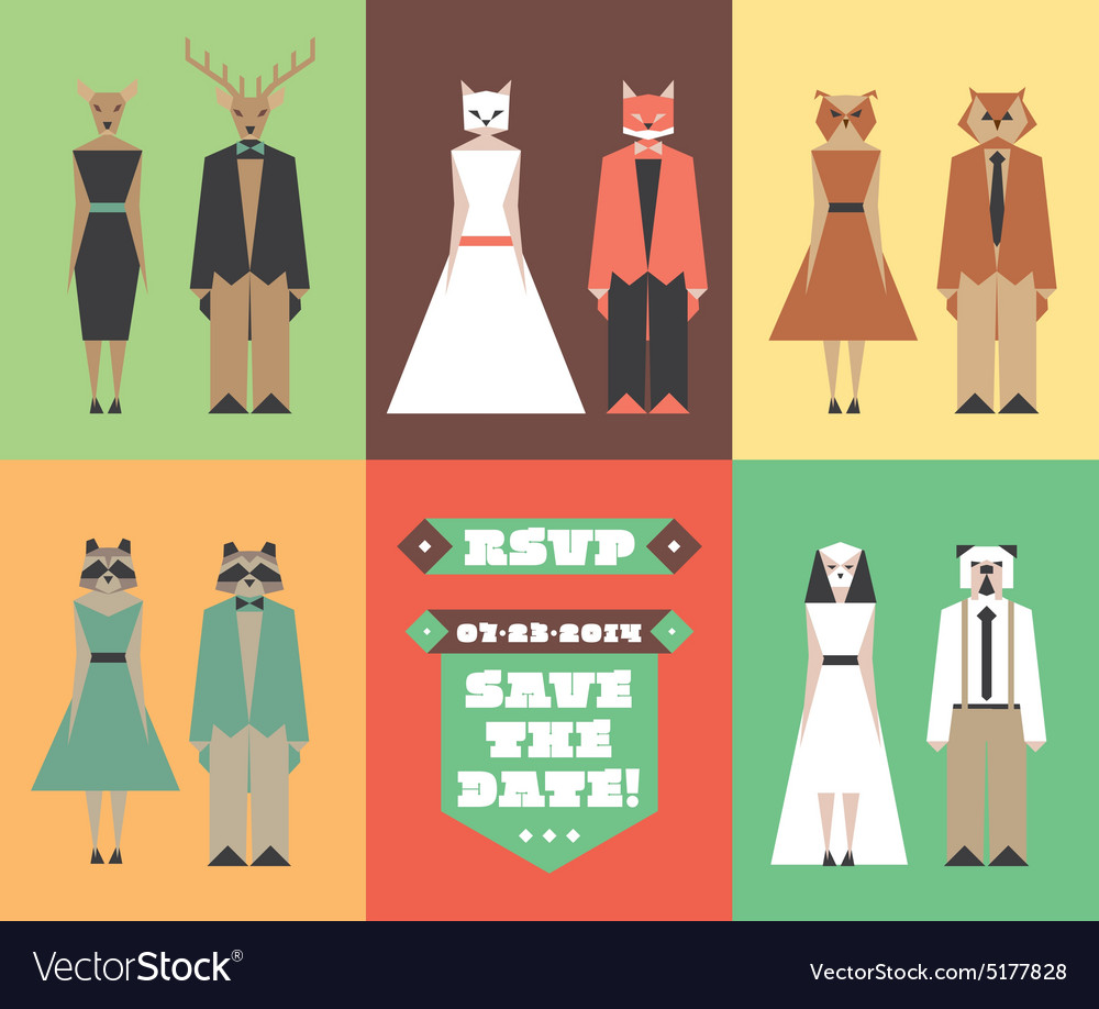 Wedding invitation figures with animal heads