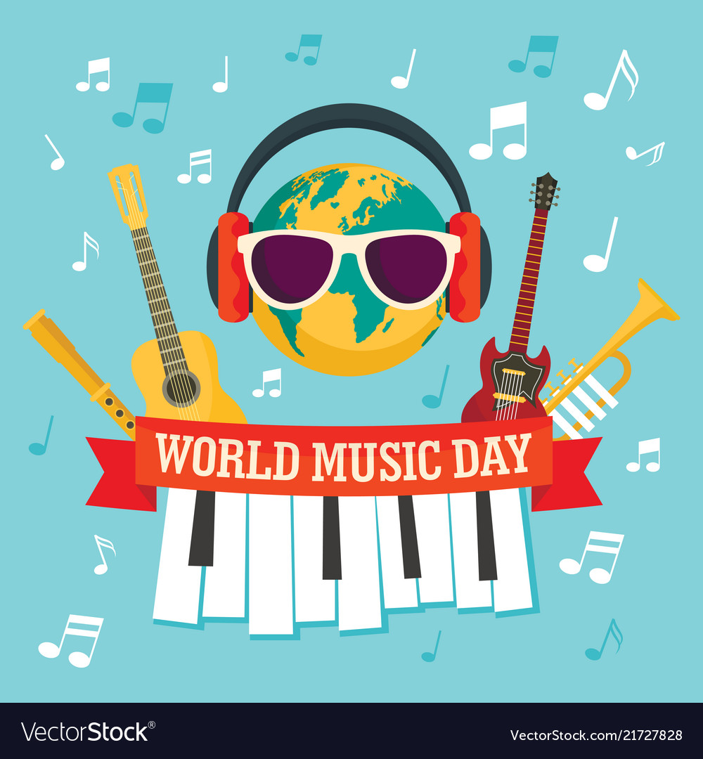 World music day concept background flat style