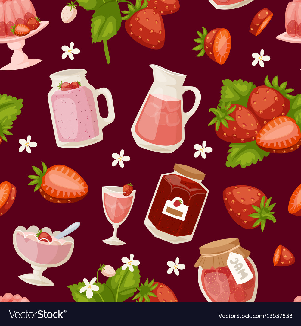 Confectionery desserts strawberry pink icon set