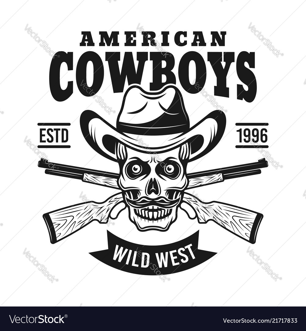 Cowboy skull in hat and two rifles emblem