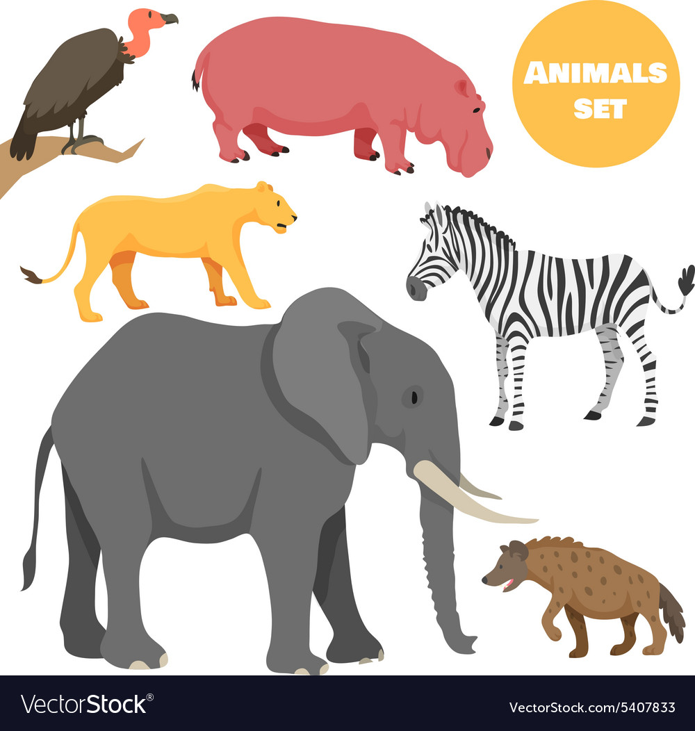 Cute african animals set for kids in cartoon style