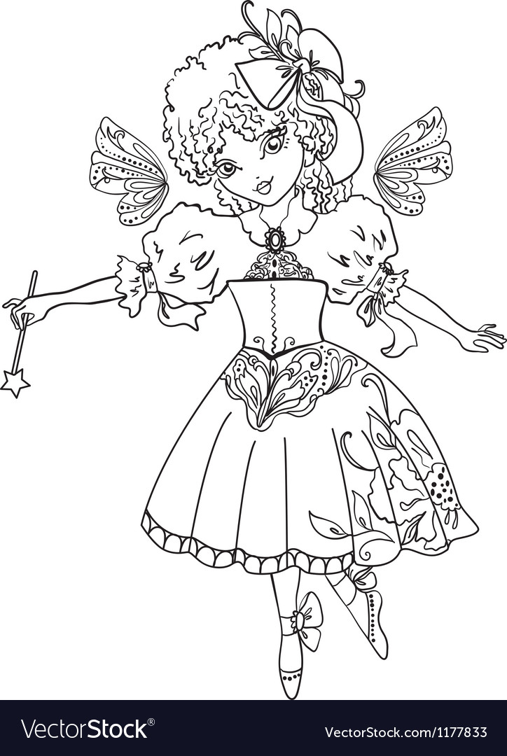 Fairy Cartoon Outline Drawing Royalty Free Vector Image