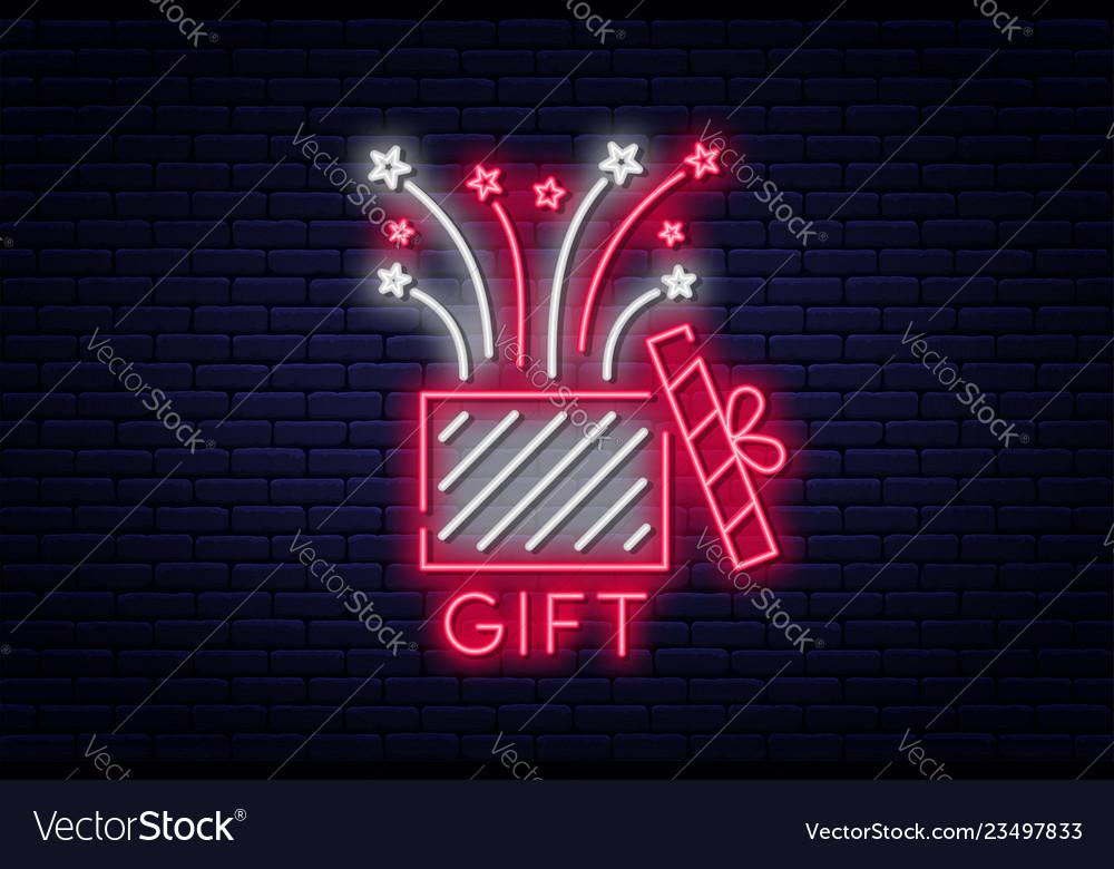 Gift box neon sign reward or bonus concept prize