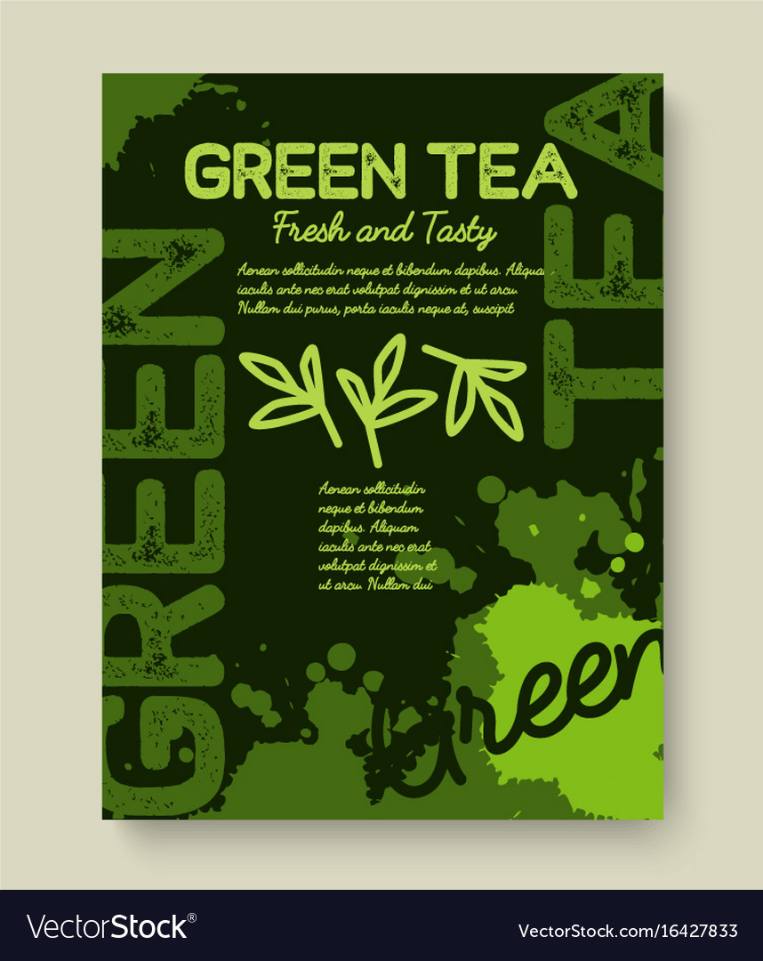 Green tea poster or banner typography design vector image