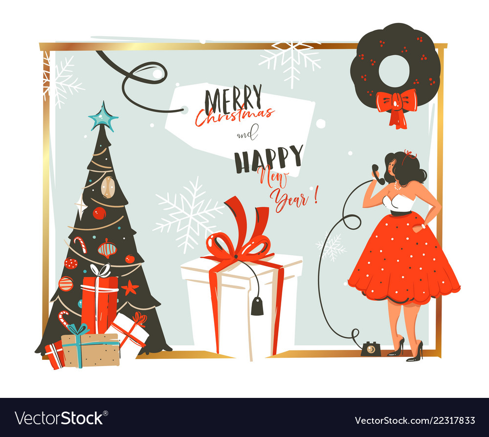Hand drawn abstract merry christmas and