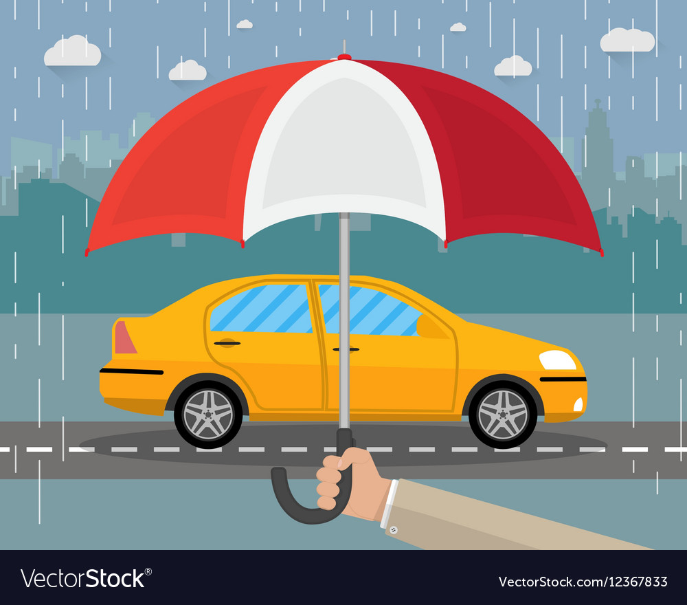 Hand With Umbrella That Protects Car