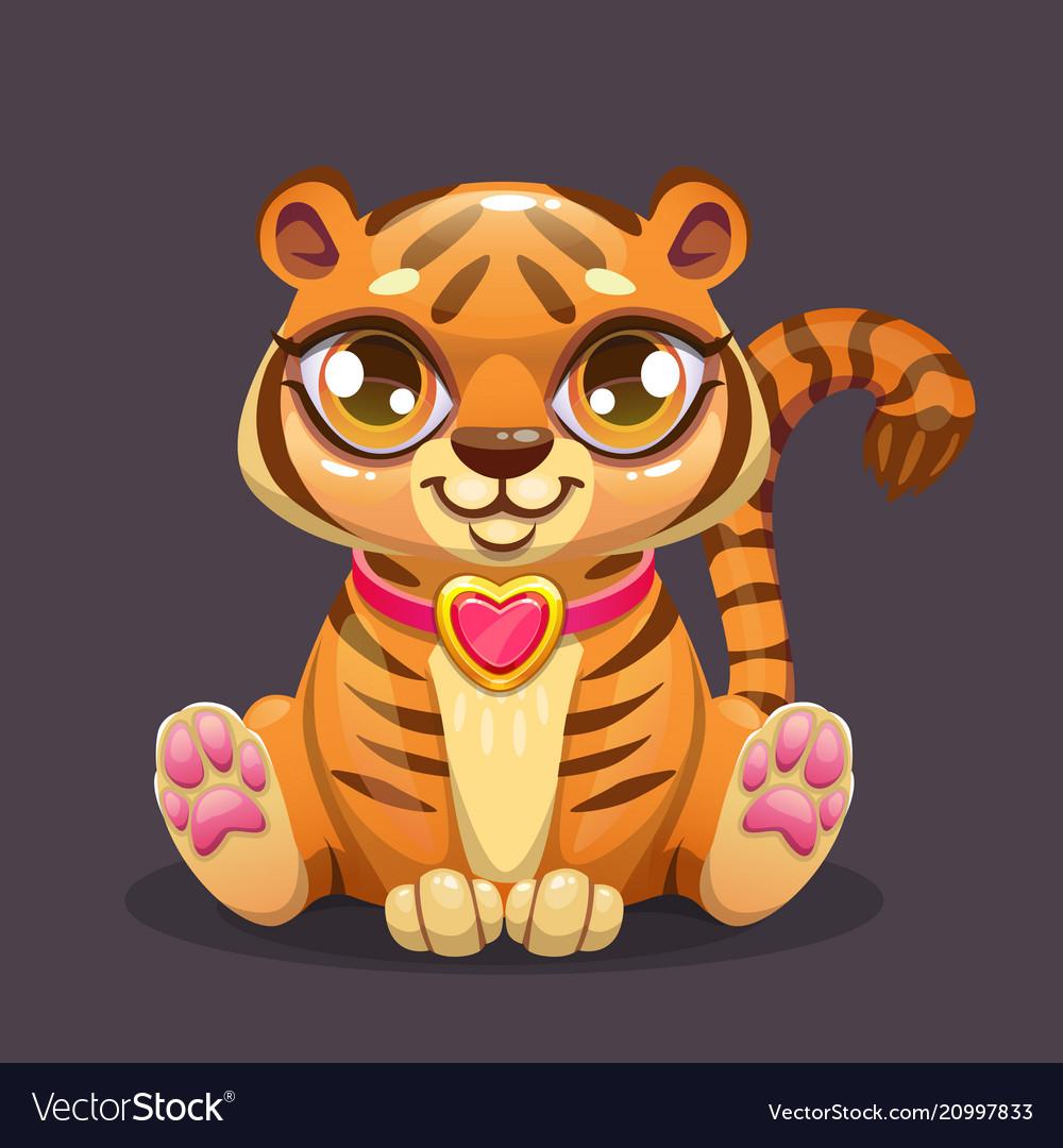 Little cute cartoon sitting baby tiger icon