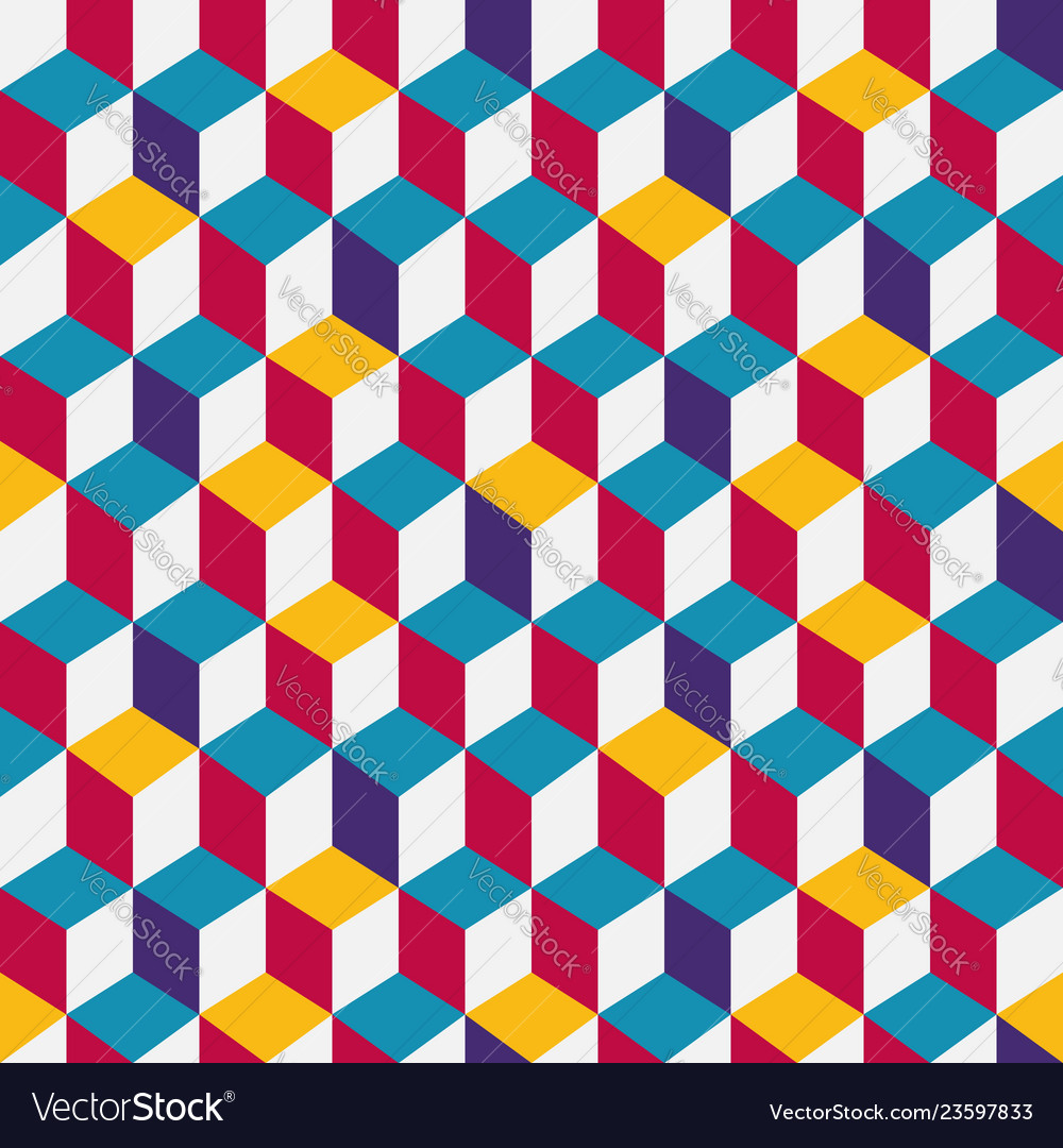 Multicolor cubic seamless pattern