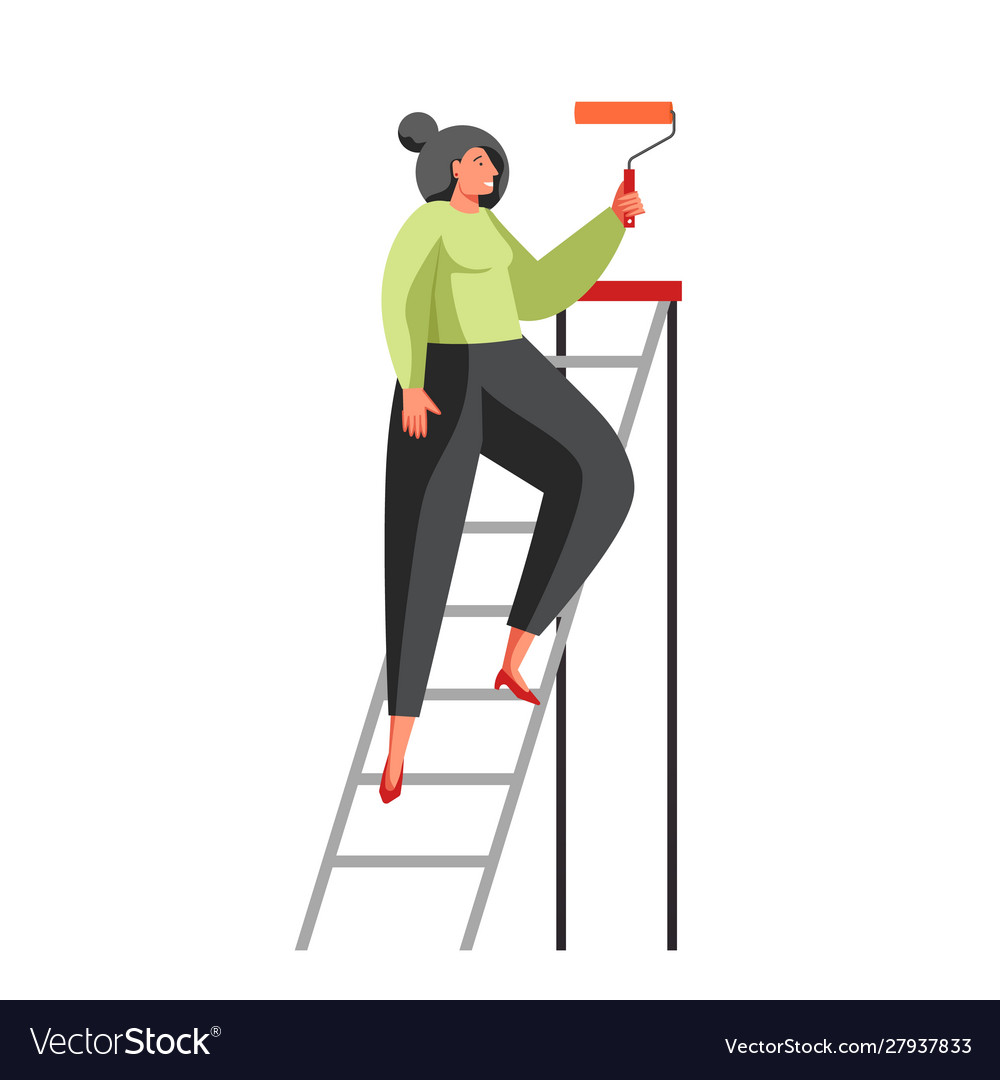 Painting wall services flat isolated