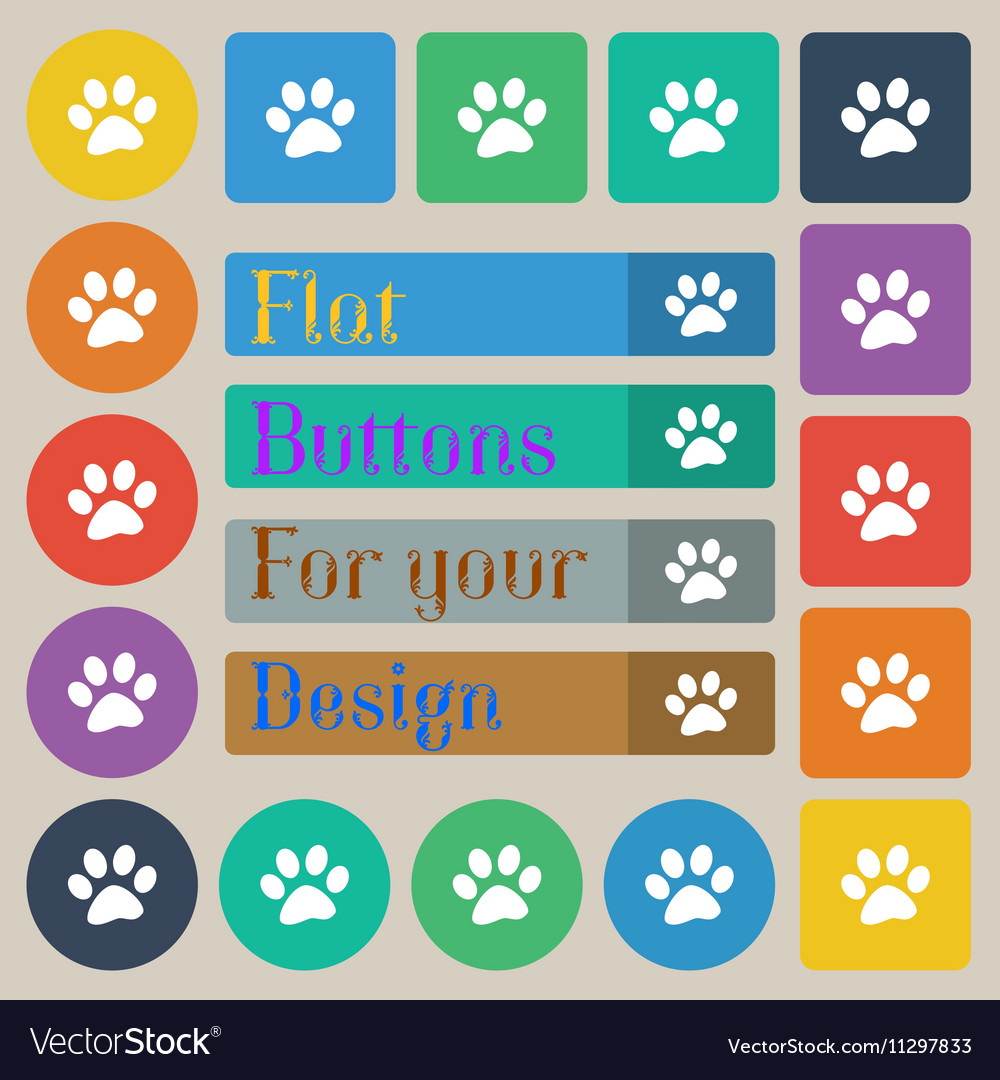 Paw icon sign Set of twenty colored flat round