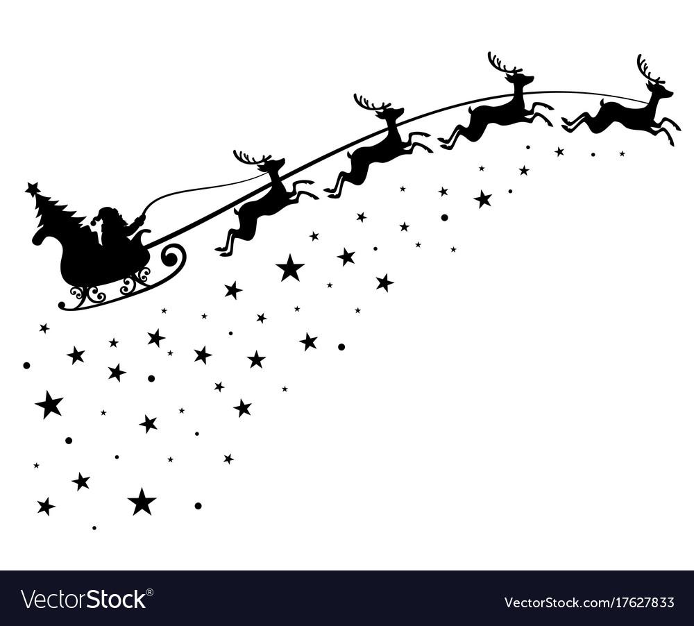 Santa claus on sleigh flying sky with deers black vector image