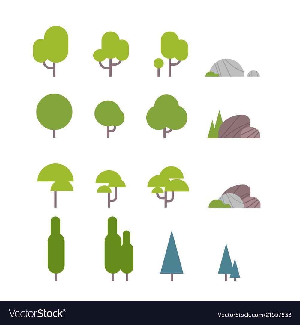 Set diversity green trees plants and garden