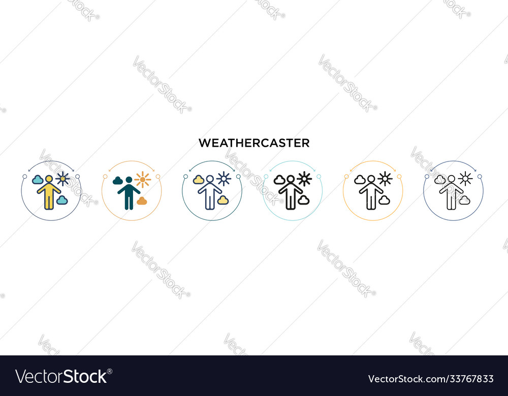 Weathercaster icon in filled thin line outline