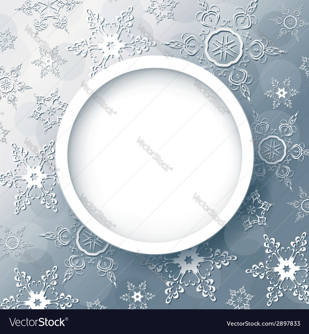 Winter abstract background grey with snowflakes vector image