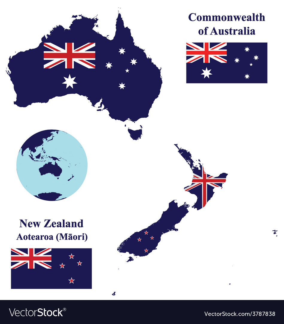 New Zealand Australia Map.Australia And New Zealand Map Flag