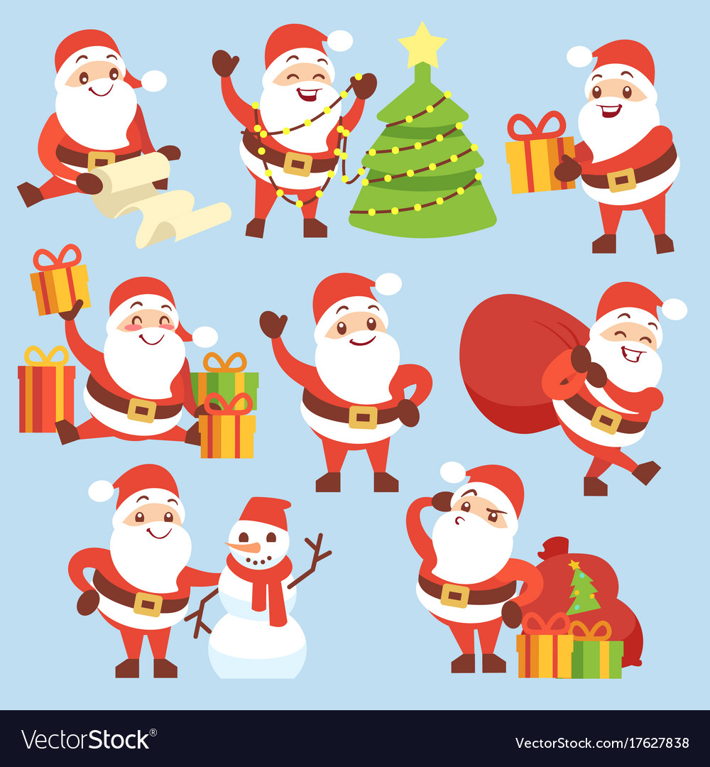 Cartoon cute santa claus character set