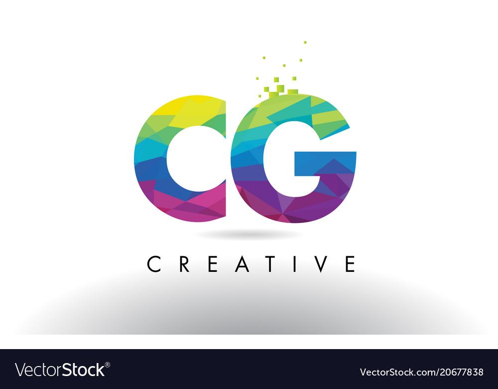 Cg c g colorful letter origami triangles design