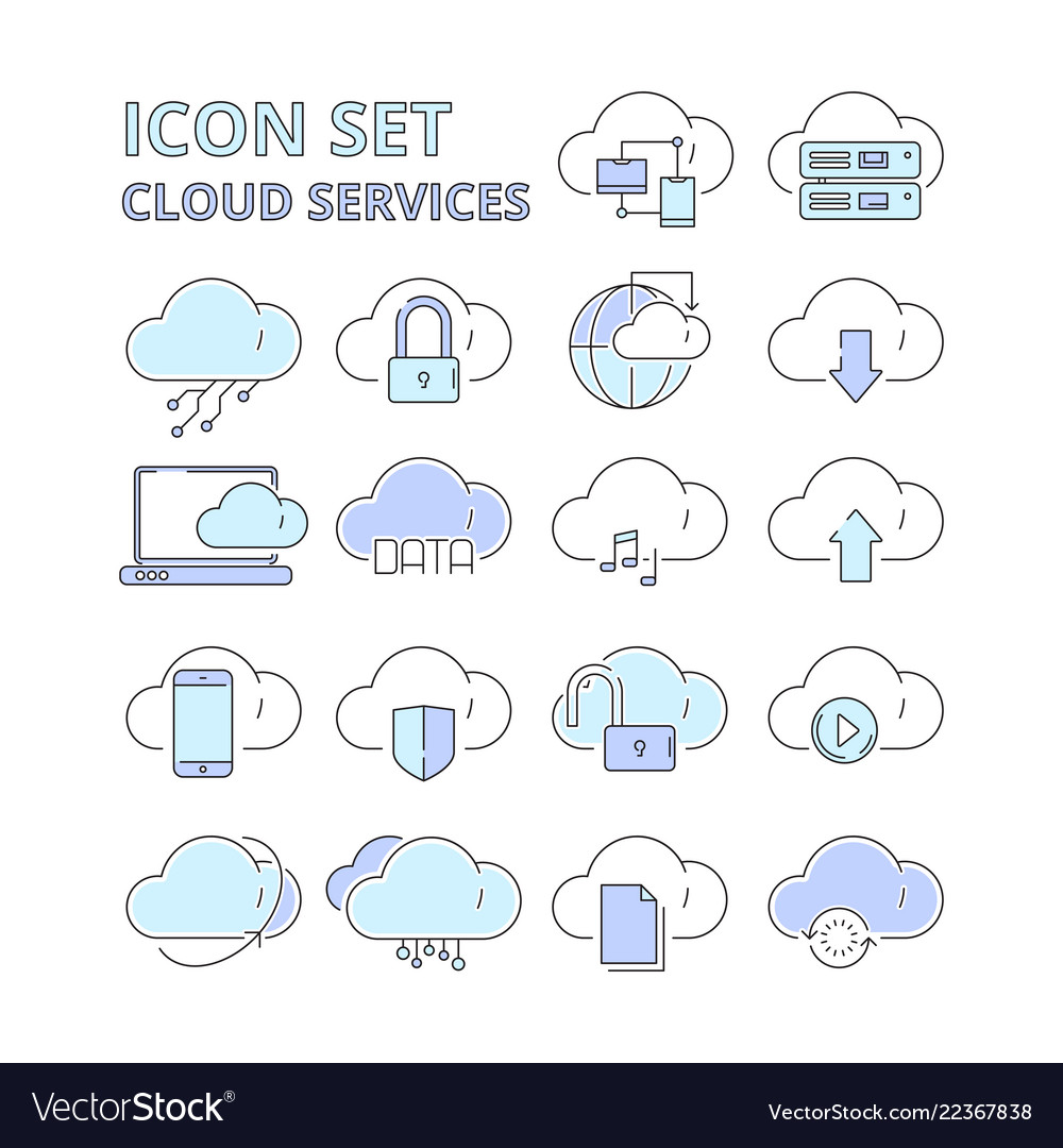 Cloud data icons global connection internet