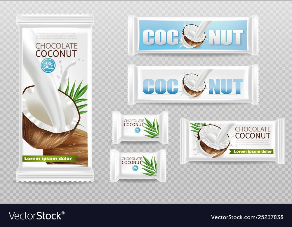 Coconut chocolates isolated realistic mock