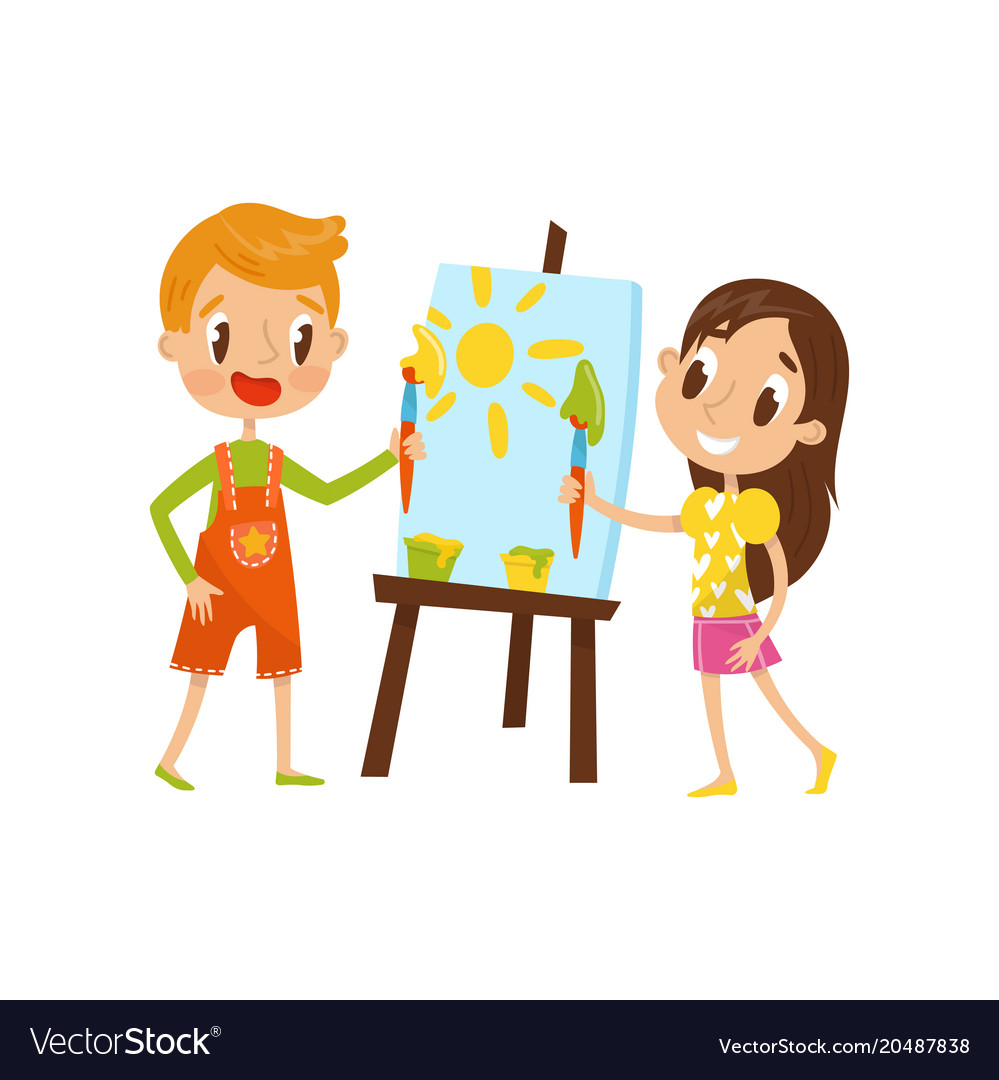 cute little boy and girl painting on an easel vector image