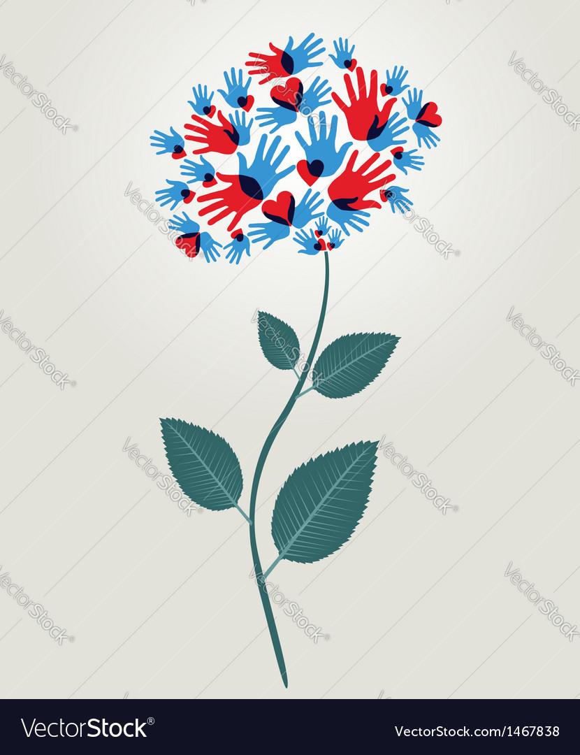 Diversity hands flower vector image
