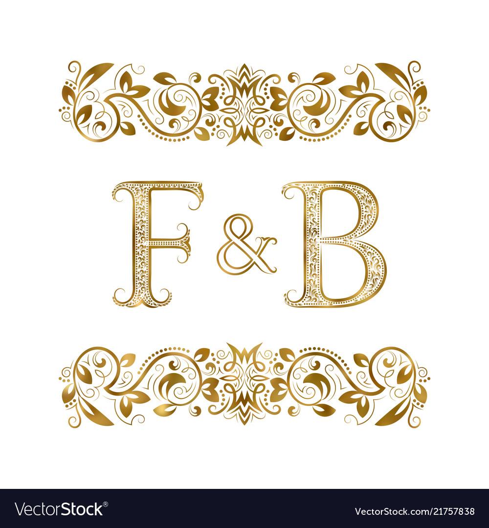 F and b vintage initials logo symbol