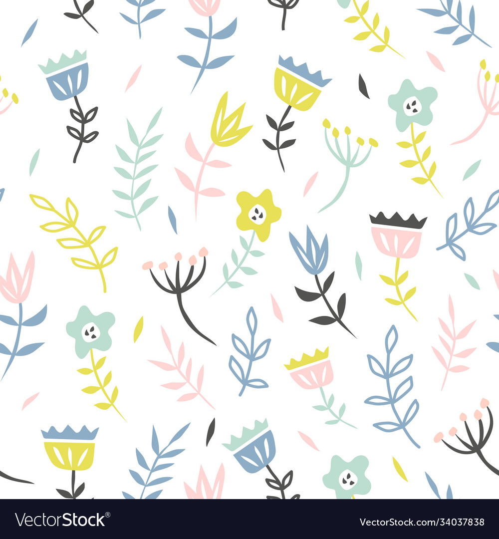 Floral seamless pattern with cute flower and