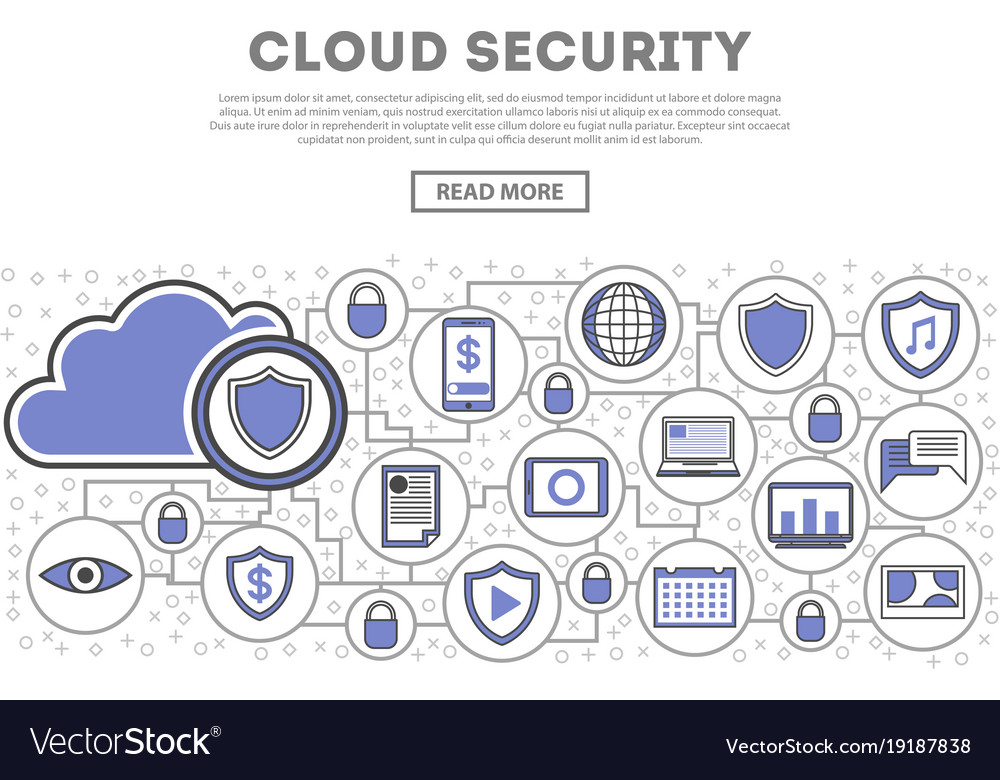 Network cloud security linear style infographics
