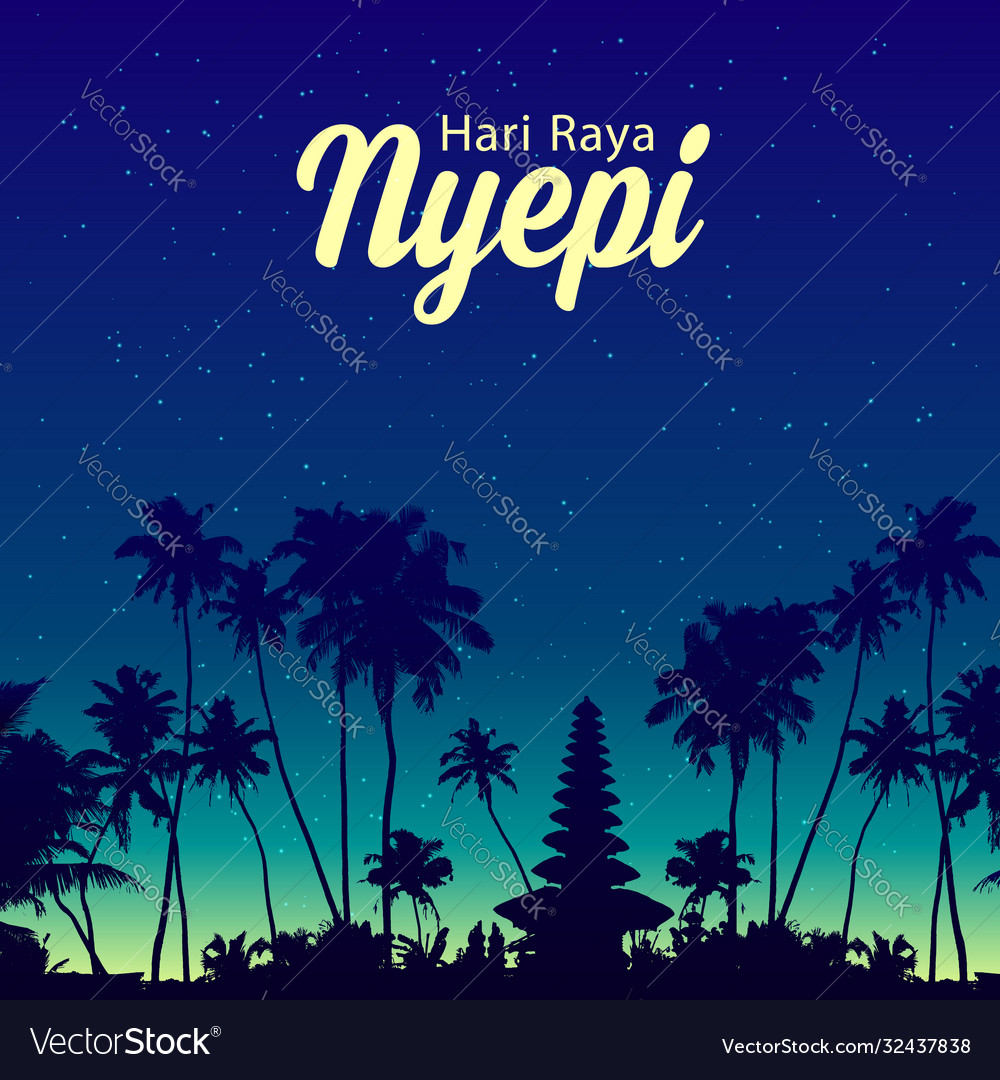 Palm trees and balinese temple night silhouettes