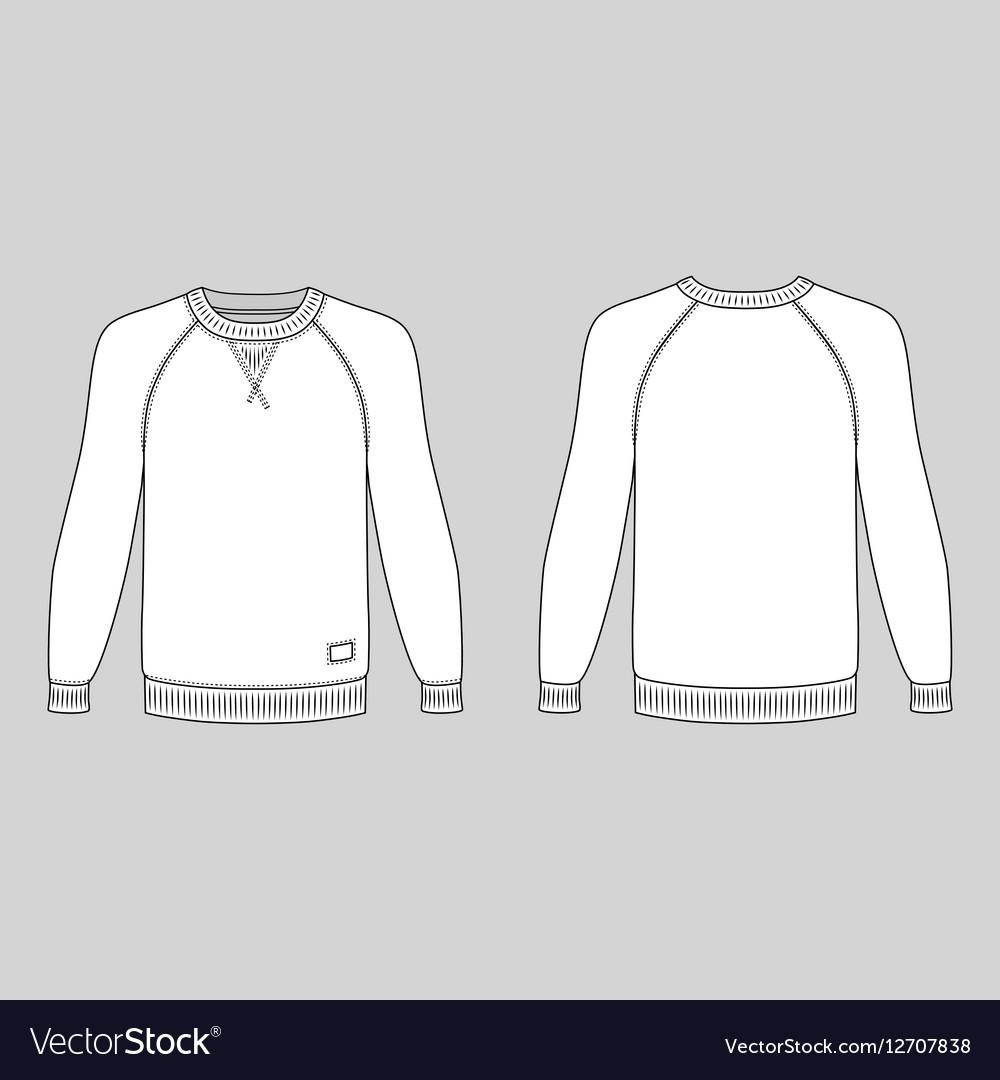 Raglan long sleeve t shirt outlined template vector image maxwellsz