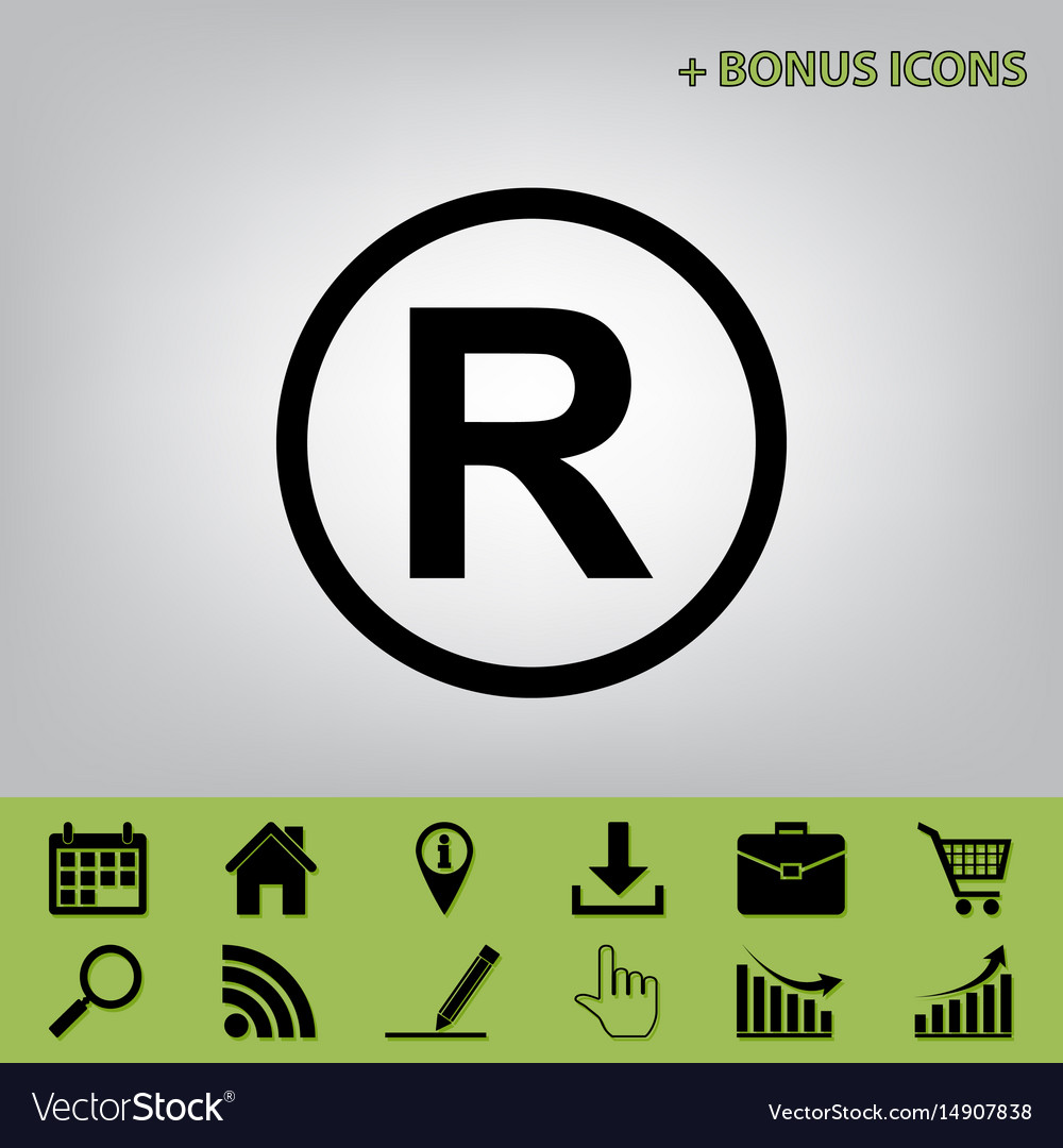 Registered Trademark Sign Black Icon At Royalty Free Vector