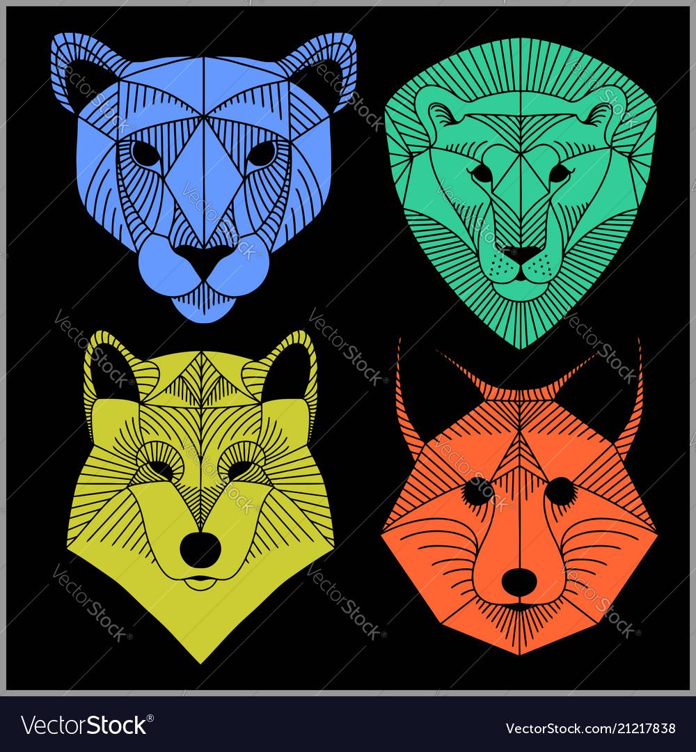 Set of polygonal animals polygonal logos