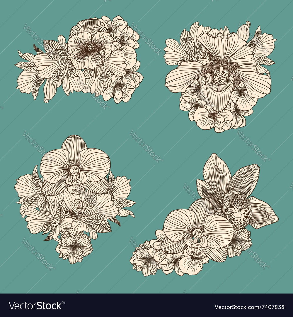 Set of vintage flowers compositions