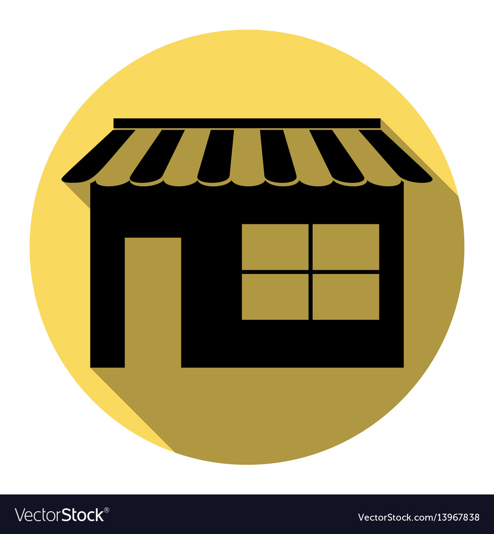 Store sign flat black icon