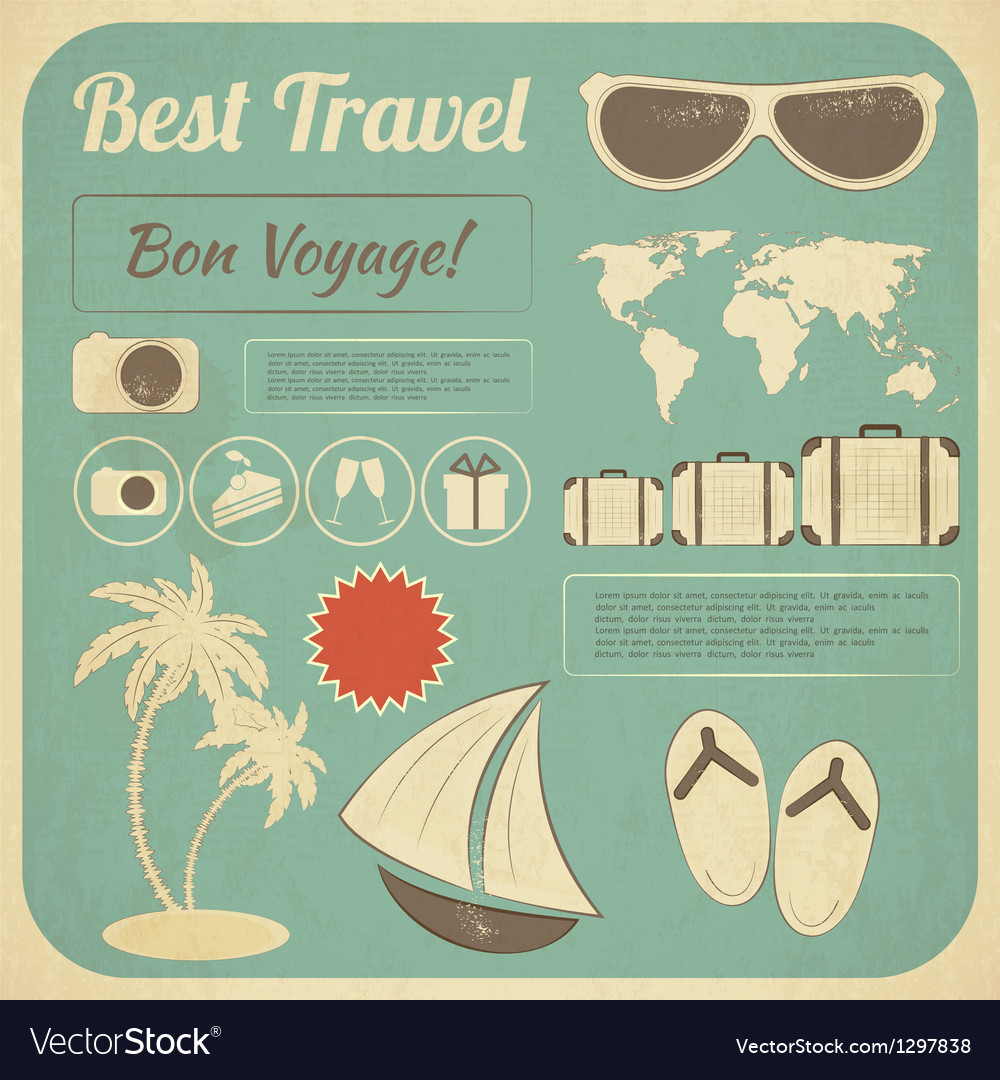 Summer Travel Card in retro Style vector image
