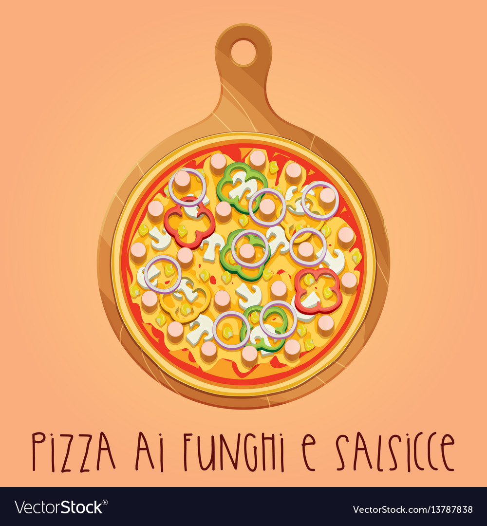 The real pizza ai funghi e salsicce on wooden