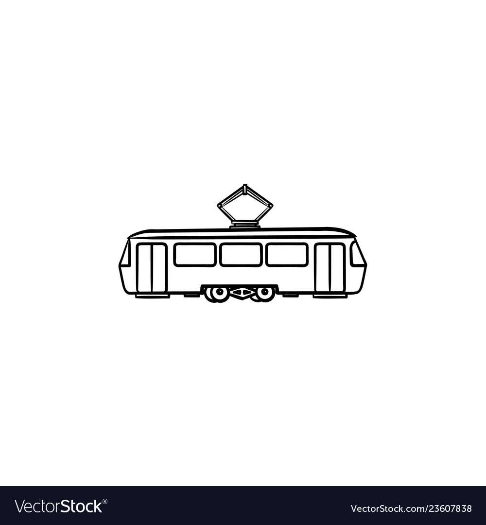 Tram hand drawn outline doodle icon