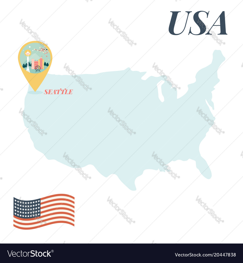usa map with seattle pin travel concept royalty free vector