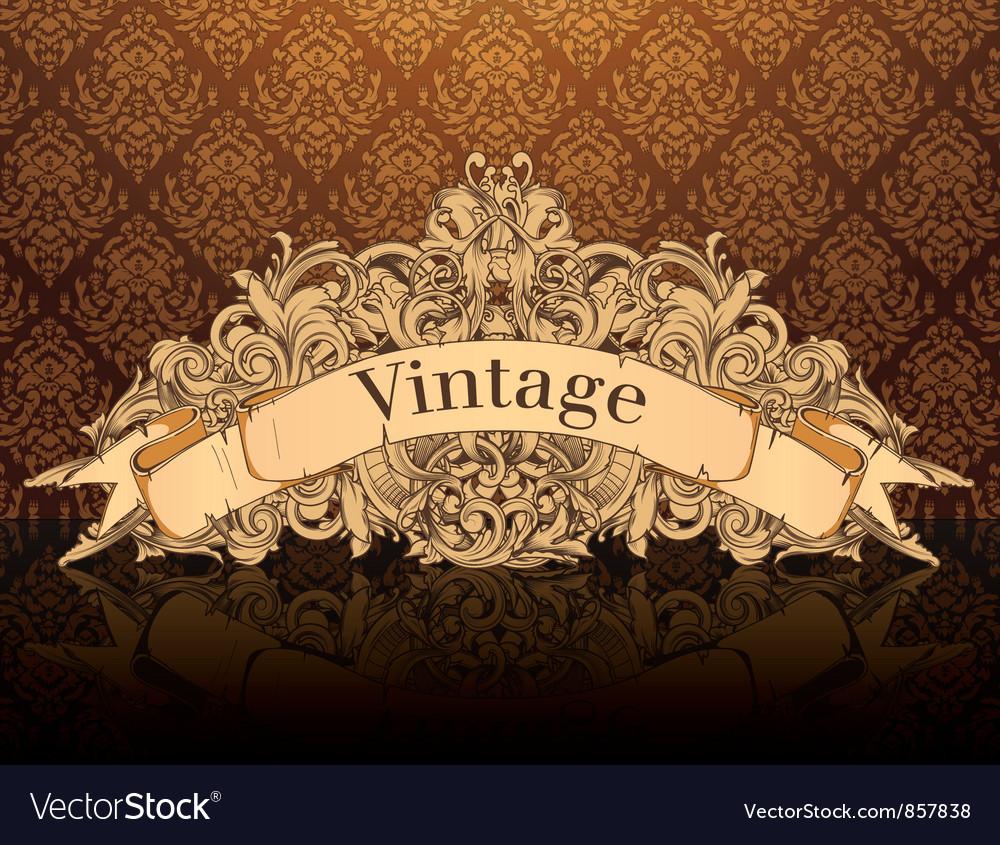 Vintage emblem with damask background