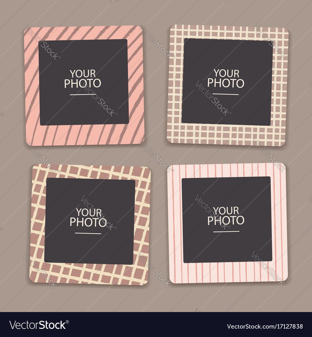 Vintage photo frames collage scrapbook retro Vector Image