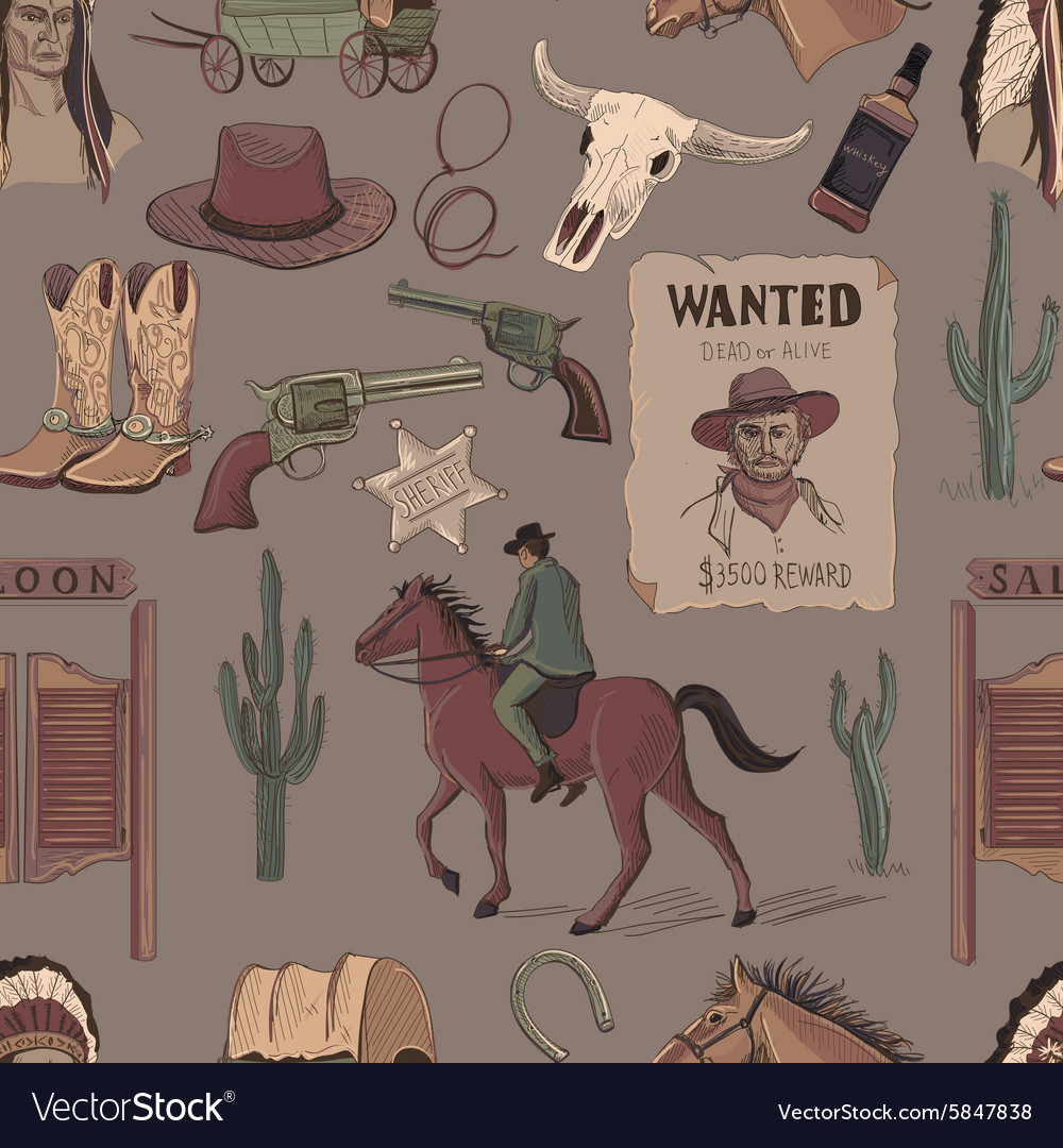 Wild West colored hand drawn pattern