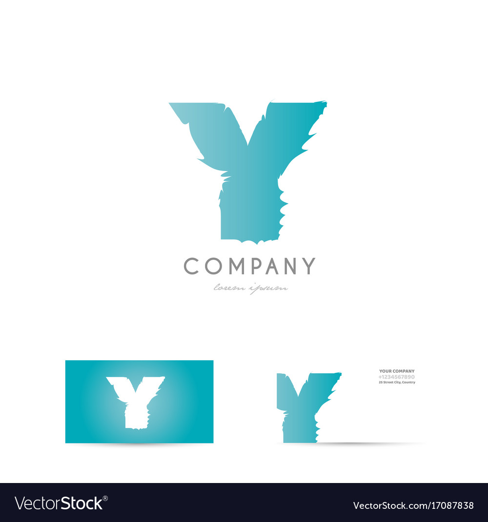 Y blue letter alphabet logo icon design