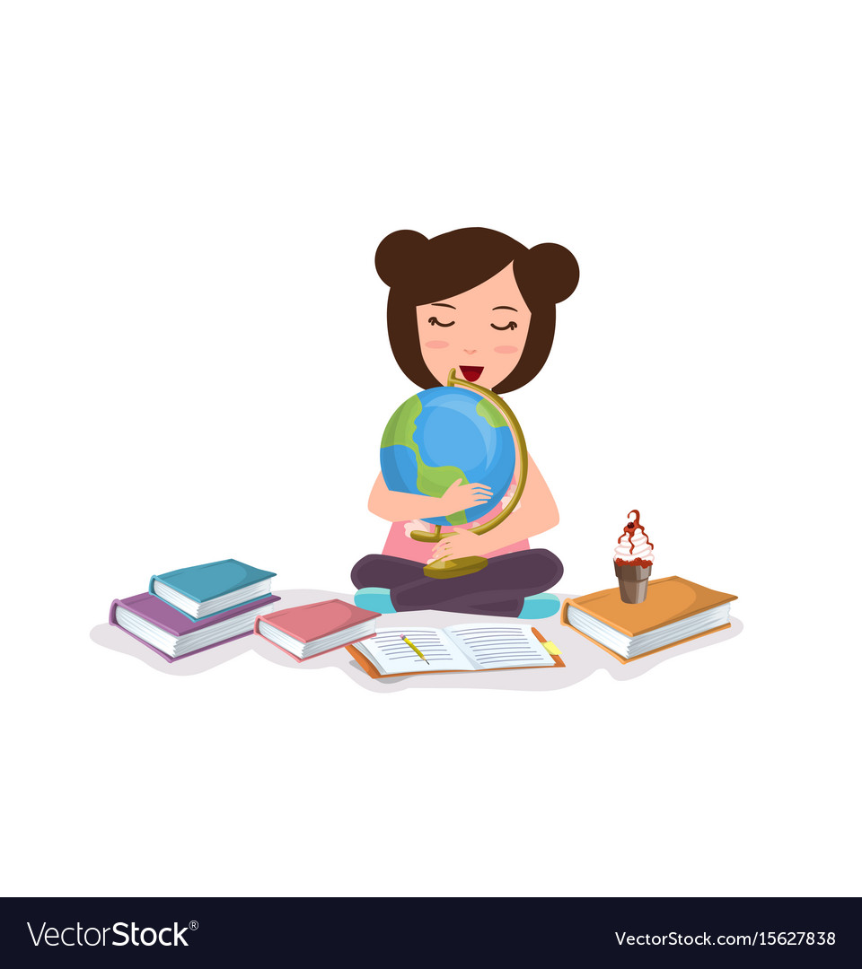 Young girl kids studying reading book learning vector image