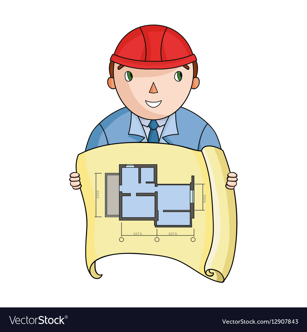 Architectz with technical drawing icon in cartoon
