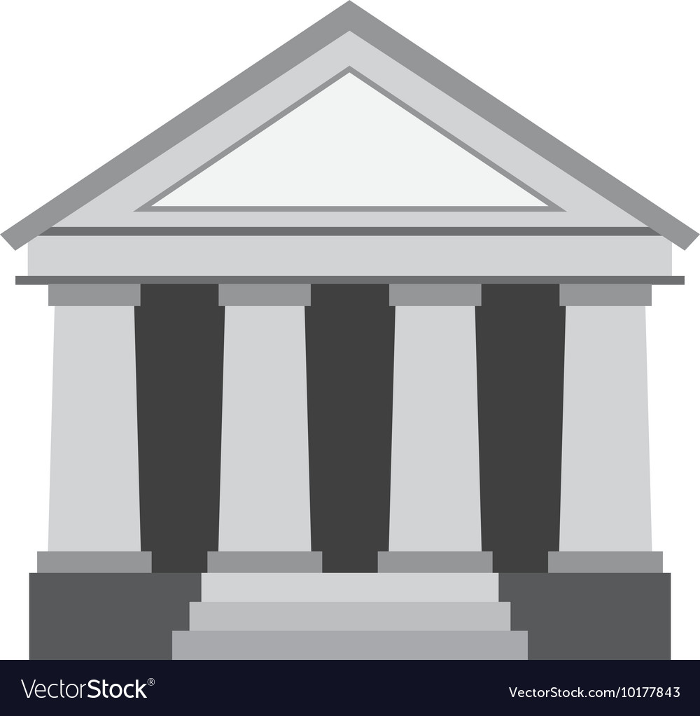 Bank building construction silhouette icon