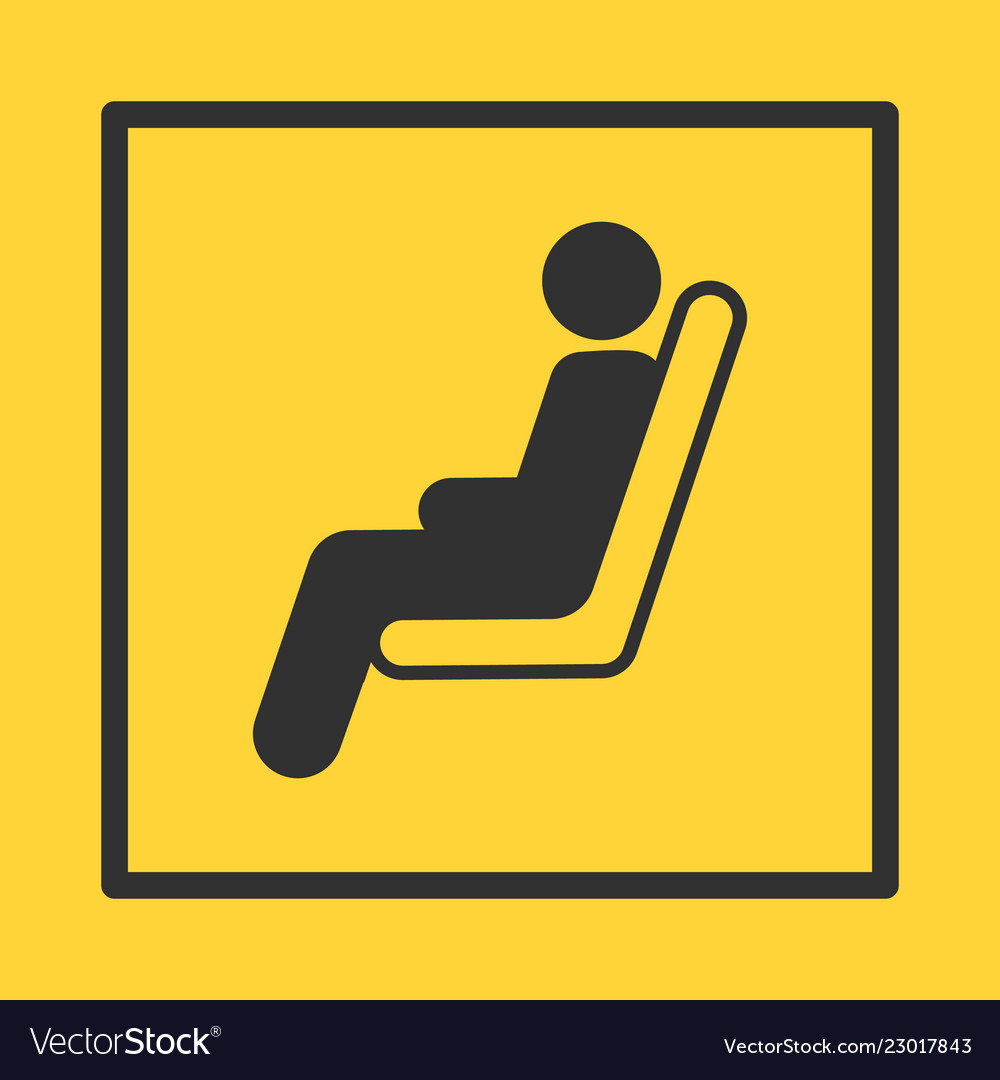 Bus or train or plane seat yellow sticker in