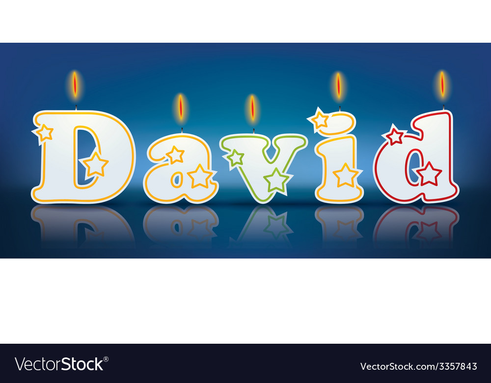 DAVID written with burning candles vector image