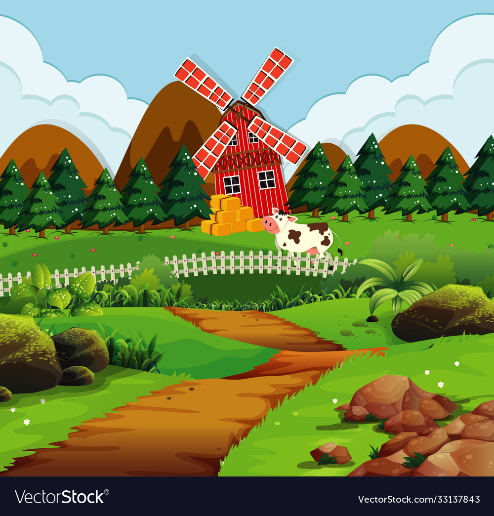 Farm in nature scene with windmill and cow
